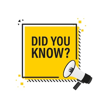 Você sabia banner amarelo megafone em estilo 3d em branco