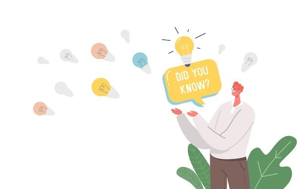 Você sabia: banner, homem com balão e lâmpadas brilhantes que representam a explicação de um fato interessante Vetor grátis