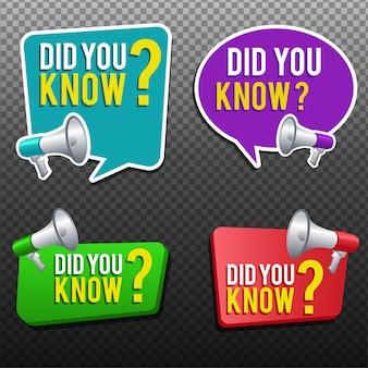 Você sabia etiqueta do banner com balão Vetor Premium