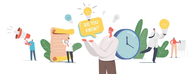 Você sabia o anúncio do megafone. minúsculos personagens com alto-falante e lâmpada explicam fatos interessantes sobre produto comercial, promoção e informações sobre anúncios. ilustração em vetor desenho animado