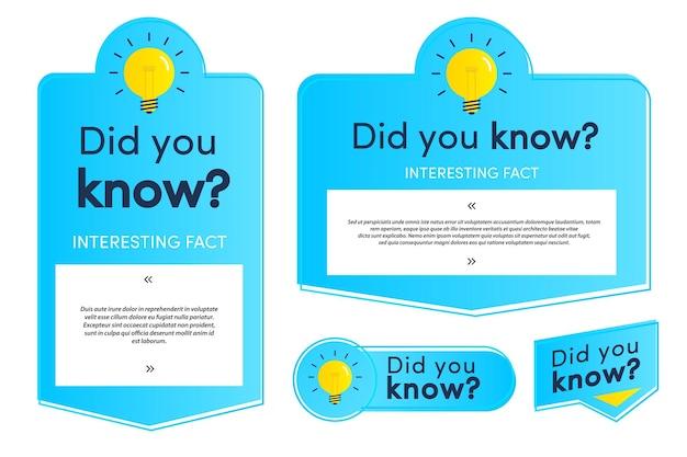 Você sabia que conjunto de etiquetas e cartões para a vida hacks publicidade educação negócios interessante engraçado
