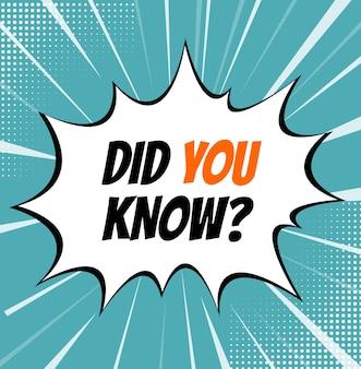 Você sabia que fundo de fatos interessantes fundo de arte pop de fatos interessantes