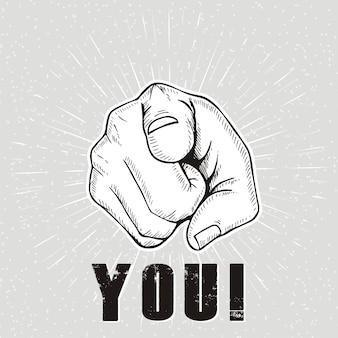 Você. sinal de mão