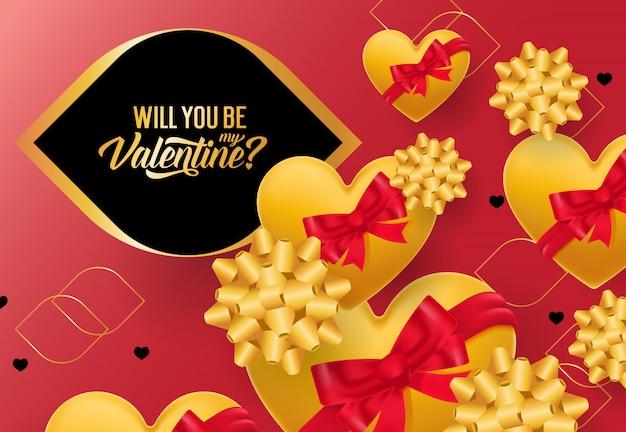 Você vai ser meu valentine lettering com corações amarelos