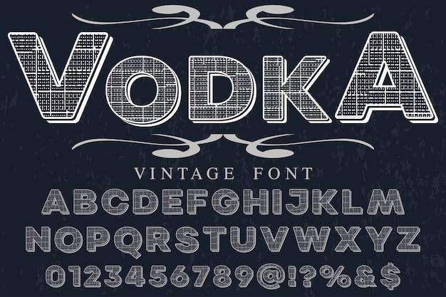 Vodka de design de rótulo de alfabeto efeito sombra
