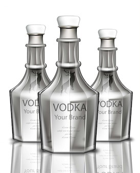 Vodka garrafa realista. design de marca de embalagem do produto. lugar para textos