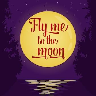 Voe-me ao cartaz da citação da lua