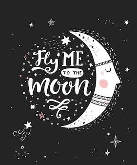 Voe-me ao cartaz monocromático da lua