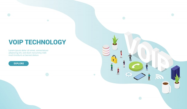 Voip voz sobre o conceito de protocolo de internet para o site template landing page