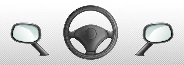 Volante do carro e espelhos retrovisores laterais