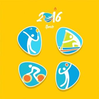 Voleibol badminton canoa sprint ciclismo de estrada ícone olimpíadas rio