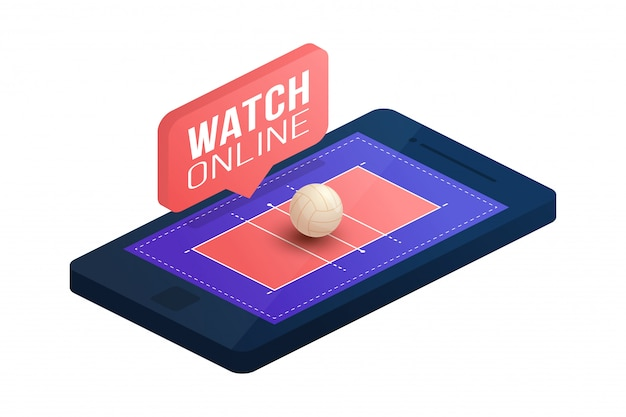 Voleibol conceito on-line plana ilustração isométrica. conceito isométrico plana de voleibol online.
