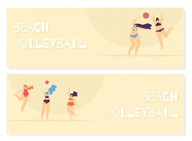 Voleibol de praia que joga o positivo do corpo da mulher. Vetor grátis