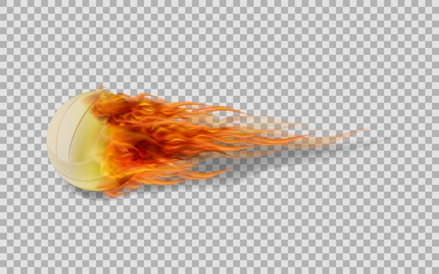 Voleibol do vetor no fogo no fundo transparente.