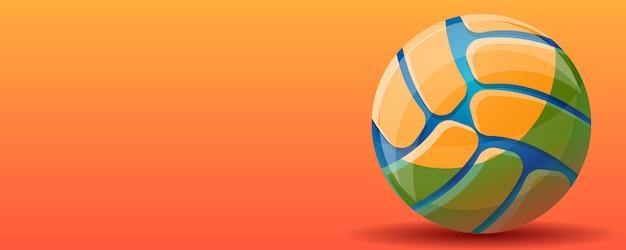 Voleibol esporte conceito bandeira fundo, estilo cartoon