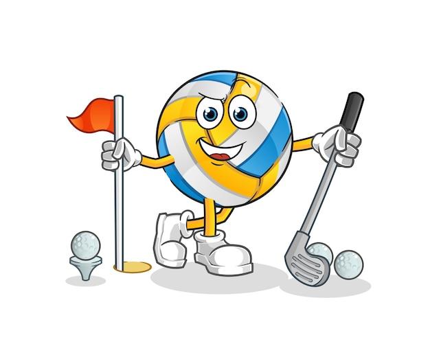 Voleibol jogando golfe. personagem de desenho animado