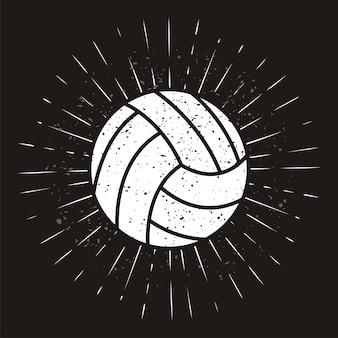 Volleyballl vintage com sunburst em fundo grunge