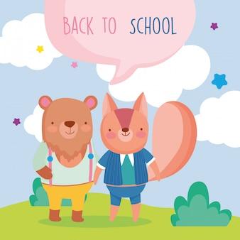 Volta à escola educação esquilo bonito e urso dos desenhos animados ao ar livre