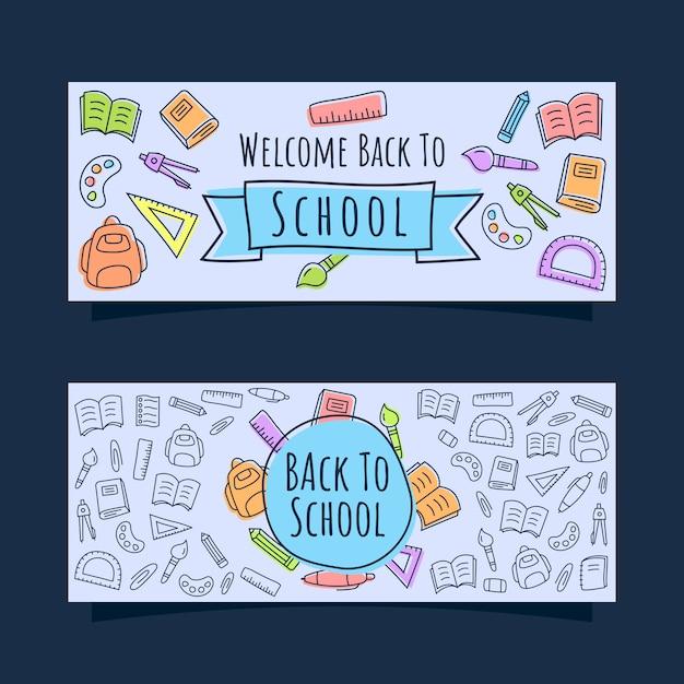 Volta ao banner da escola com o estilo de doodle de ícones de linha