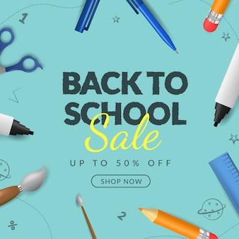 Volta ao banner de venda de escola com ilustração 3d