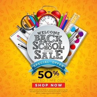 Volta ao banner de venda de escola com lápis colorido e outros itens de aprendizagem na mão desenhada doodles