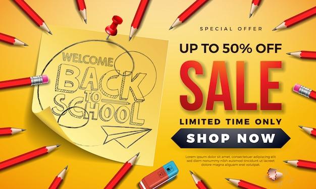 Volta ao banner de venda de escola com lápis de grafite e notas auto-adesivas em amarelo