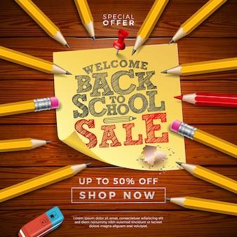 Volta ao banner de venda de escola com lápis de grafite e notas auto-adesivas na madeira vintege