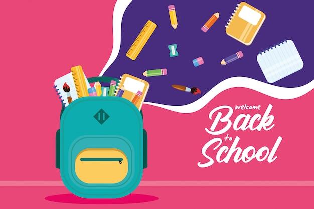Volta ao cartaz da escola com mochila e suprimentos