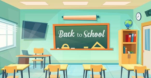 Volta ao cartaz da escola com sala de aula vazia com mesa de professores. fundo de educação dos desenhos animados. faculdade ou sala de treinamento da universidade com quadro-negro, mesa, cadeiras. ilustração vetorial em estilo simples