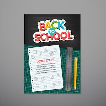 Volta ao cartaz da escola, ilustração vetorial.