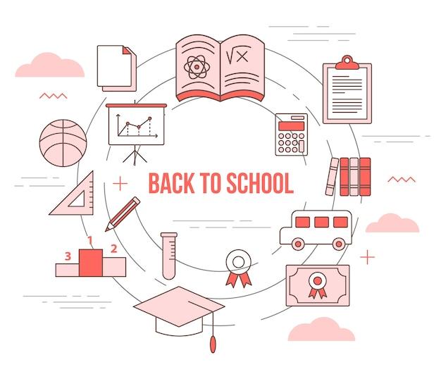 Volta ao conceito de educação escolar com banner de modelo definido com estilo moderno de cor laranja