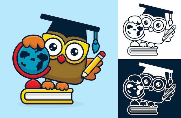Volta ao conceito de escola com coruja engraçada. ilustração dos desenhos animados em estilo simples