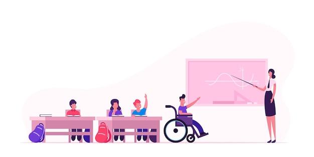 Volta ao conceito de escola com crianças e professor. ilustração plana dos desenhos animados