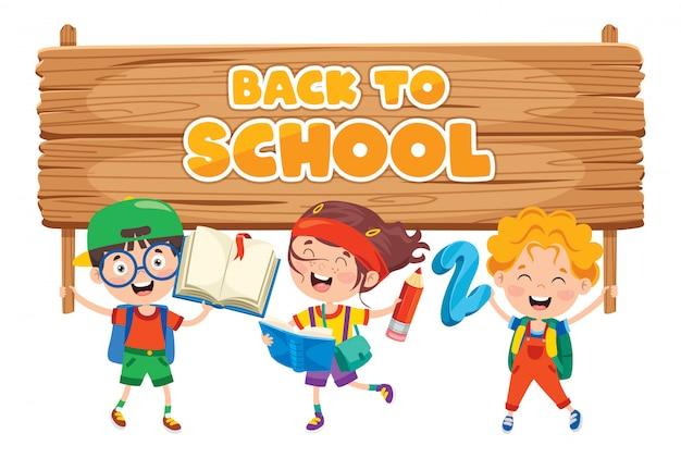 Volta ao conceito de escola com crianças engraçadas