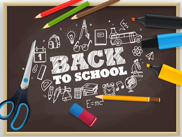 Volta ao conceito de escola com elementos de doodle de giz
