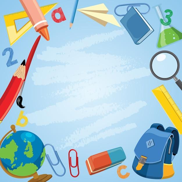 Volta ao conceito de escola com material escolar nos desenhos animados