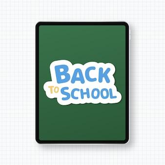 Volta ao conceito de escola com tablet moderno isolado