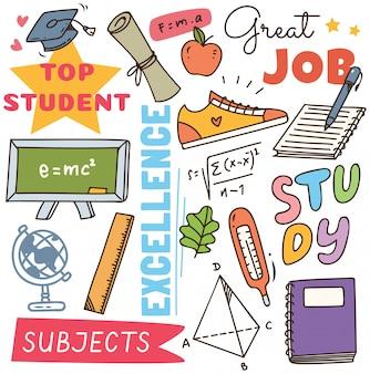 Volta ao conceito de escola doodle fundo