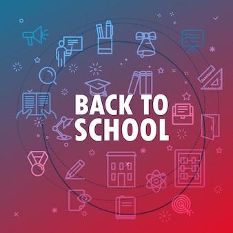 Volta ao conceito de escola. ícones de linha fina diferentes incluídos