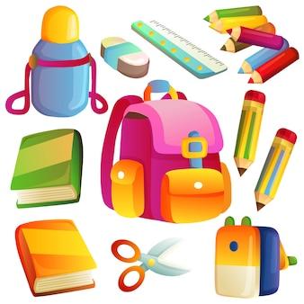 Volta ao conjunto de ícones de elemento de escola