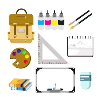 Volta ao conjunto de ilustração de coisas de estudante de escola
