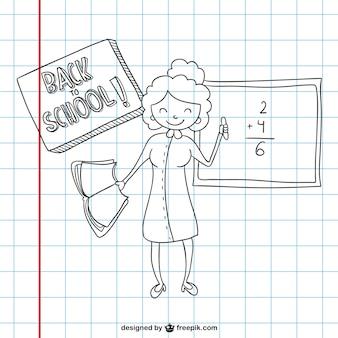 Volta ao esboço escola em papel