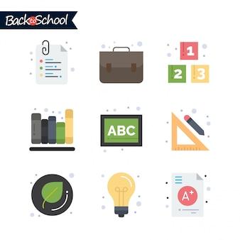 Volta ao ícone da escola. conjunto de ícones de educação e aprendizagem.