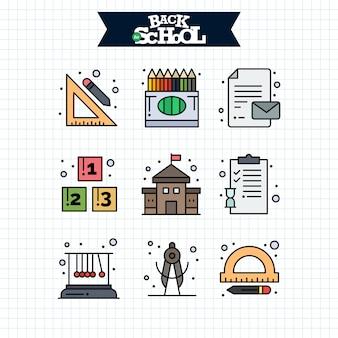 Volta ao ícone da escola. conjunto de ícones de linha de educação e aprendizagem.