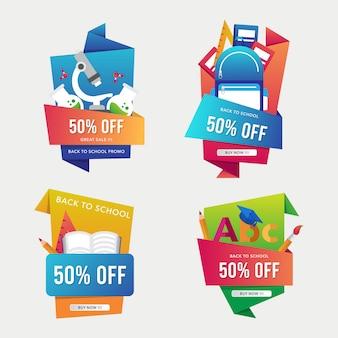 Volta ao modelo de banner de venda de escola com coleção de estilo origami