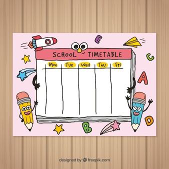 Volta ao modelo de calendário de escola mão desenhada