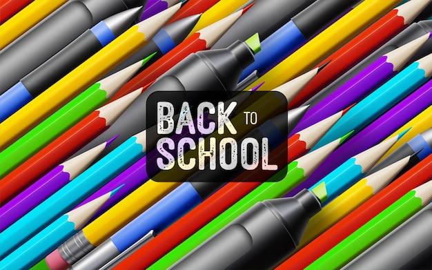 Volta às aulas banner vintage branco com material escolar