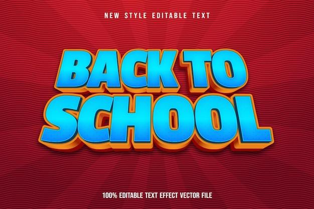 Volta às aulas com efeito de texto editável estilo cômico azul