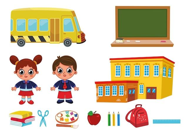 Volta às aulas conjunto de crianças em idade escolar no conceito de educação. ilustração em vetor