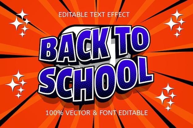 Volta às aulas cor laranja azul efeito de texto editável